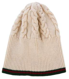 Gucci Web Merino Wool Cable Knit Beanie