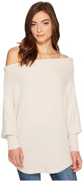 Culture Phit Lottie Long Sleeve Off the Shoulder Waffle Top Women's T Shirt