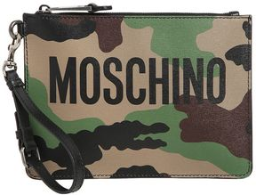 Moschino Camo Printed Leather Pouch W/ Logo