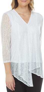 Allison Daley 3/4 Sleeve Square Dot Mesh Hi-Lo Asymmetrical Hem Tunic