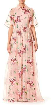 Carolina Herrera Floral-Embroidered Button-Front Short-Sleeve Evening Gown