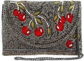 Mary Frances Cherry on Top Beaded/Embroidered Crossbody Envelope Clutch