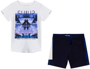 Mayoral White Surf Graphic Tee and Navy Shorts Set
