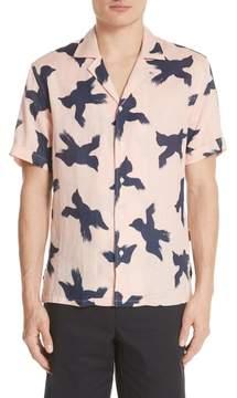 Burberry Judston Bird Print Linen Shirt