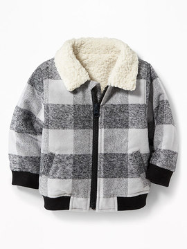 Old Navy Sherpa-Lined Plaid Flannel Bomber Jacket for Baby