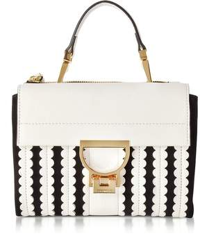 Coccinelle Arlettis Merletto White Pebbled Leather and Black Suede Mini Bag w/Shoulder Strap