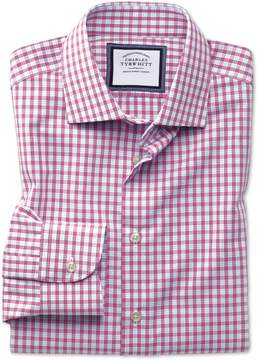 Charles Tyrwhitt Classic Fit Semi-Spread Collar Non-Iron Business Casual Pink Check Cotton Dress Shirt Single Cuff Size 15.5/32