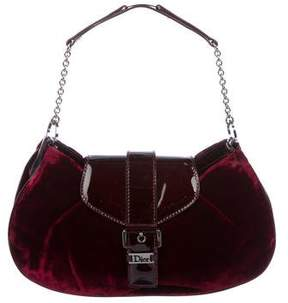 Christian Dior Patent-Leather Trimmed Velvet Bag