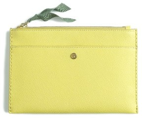 J.crew Medium Leather Zip Top Pouch - Yellow
