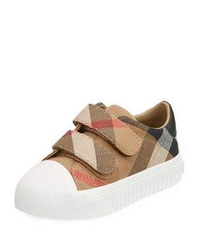 Burberry Belside Check Sneaker, Beige/White, Youth