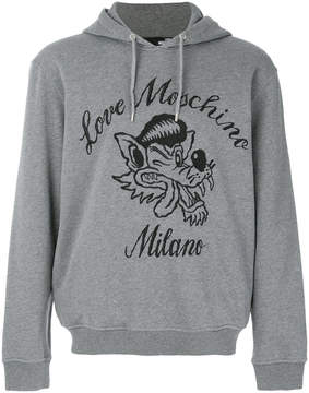 Love Moschino logo embroidered hoody