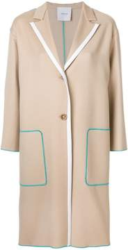 Agnona contrast-trim tailored coat