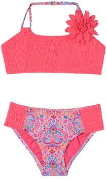 Hula Star Pink Paisley Floral-Accent Bikini - Toddler & Girls