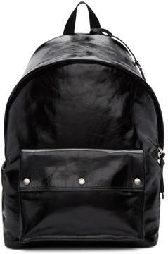 Saint Laurent Black Leather City Military Backpack