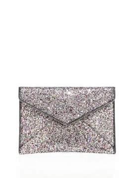 Rebecca Minkoff Leo Glitter Envelope Clutch - SILVER - STYLE