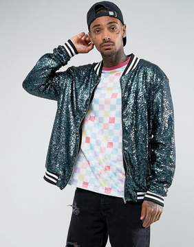 Jaded London Bomber Jacket In Blue Sequin
