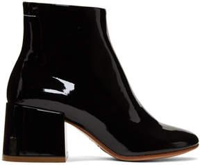 Maison Margiela Black Patent Flare Heel Boots