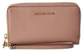 MICHAEL Michael Kors Jet Set Travel Large Leather Smartphone Wristlet. - BEIGE - STYLE