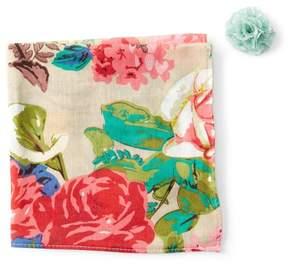 Original Penguin Visser Floral Pocket Square & Lapel Pin Set
