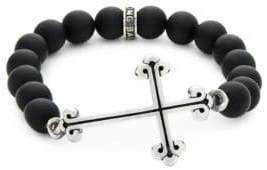 King Baby Studio Onxy Bead Cross Bracelet