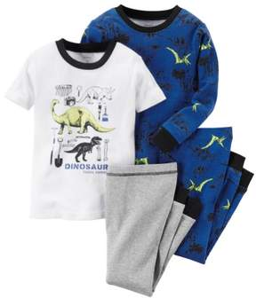 Carter's Baby Clothing Outfit Boys 4-Piece Glow-In-The-Dark Cotton Dinosaur PJs Fossil Expert