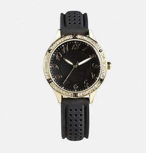 Avenue Perforated Rubber Strap Watch