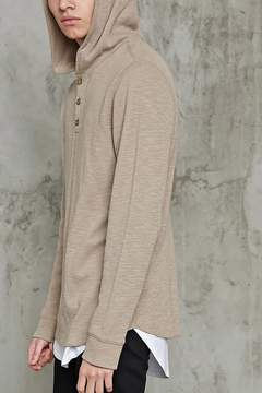 Forever 21 Hooded Slub Knit Henley