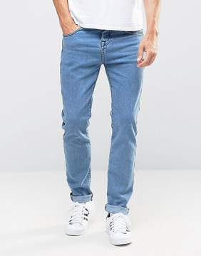 Pull&Bear Skinny Selvage Jeans In Mid Blue