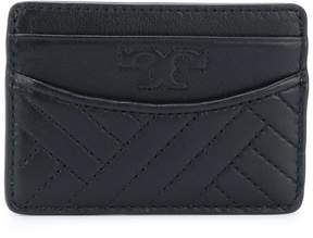Tory Burch logo embossed quilted cardholder - BLACK - STYLE
