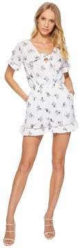 J.o.a. Short Sleeve Romper with Ruffled Hem Women's Jumpsuit & Rompers One Piece