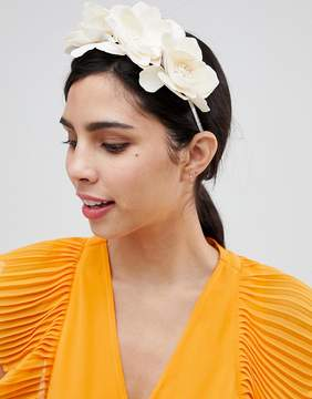 Asos DESIGN occasion cream faux leather floral headband
