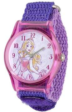 Disney Sleeping Beauty Girls' Plastic Case Watch, Purple Nylon Strap