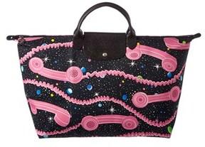 Longchamp Limited Edition Jeremy Scott Large Nylon Travel Bag. - PINK/BLACK - STYLE