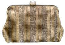La Regale Crystal Pattern Metal Mesh Pouch Clutch.