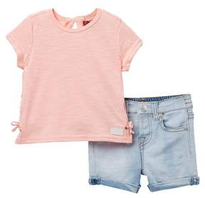 7 For All Mankind Lace-Up Tee & Shorts Set (Baby Girls)