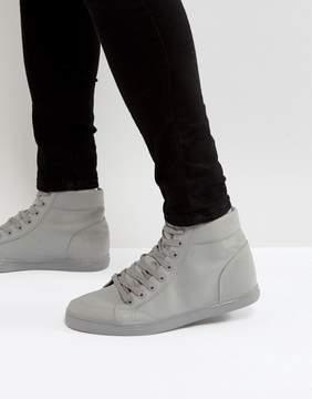 Asos High Top Sneakers In Gray Block