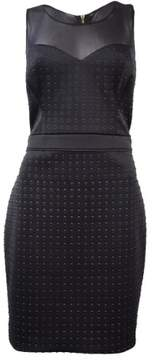 GUESS Women's Illusion Sweetheart Scuba Textured Dress (12, Black)