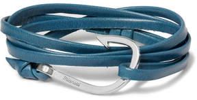Miansai Hook Leather And Silver-Tone Wrap Bracelet
