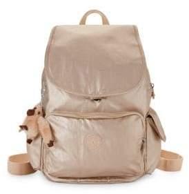 Kipling Metallic Coated Backpack - PEWTER - STYLE