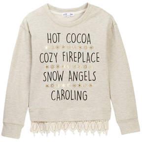 Ten Sixty Sherman Winter Sayings Lurex Trim Sweater (Big Girls)