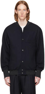 Lemaire Navy Teddy Bomber Jacket