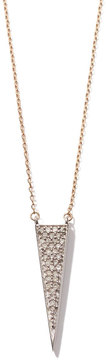 Adina Long Solid Pavé Triangle Necklace in Yellow Gold
