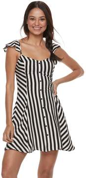 Love, Fire Love Fire Juniors' Striped Button Front Swing Dress