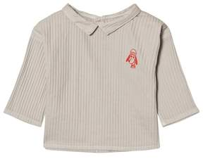 Bobo Choses Pale Grey Loup Embroidered Button Blouse