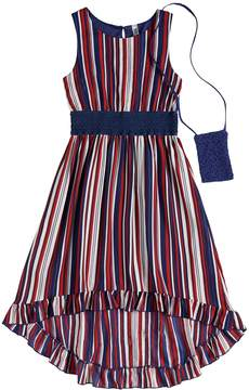 Beautees Girls 7-16 Striped High-Low Hem Midi Dress with Purse