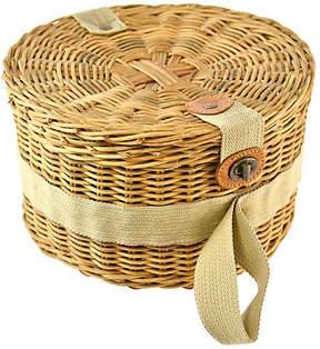 One Kings Lane Vintage Round Lidded Wicker Tote Basket