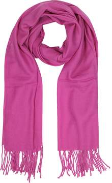 Mila Schon Raspberry Wool and Cashmere Fringed Stole