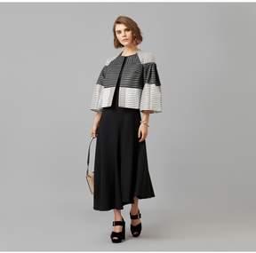 Amanda Wakeley   Black Ecru Metallic Jacquard Short Jacket   L   Black