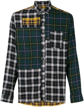 Lanvin contrast panel check shirt