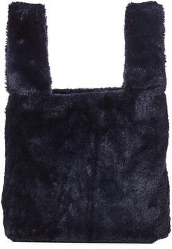 French Connection Utility Blue Faux Fur Tote